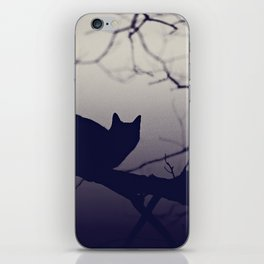 Mistery cat perching on tree in misty night iPhone Skin