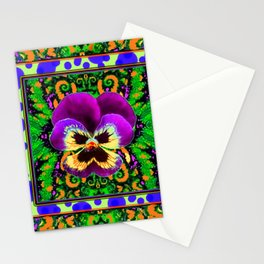Modern Purple Pansy Organic Green Art Stationery Cards