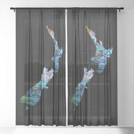 NEW ZEALAND MAP SIMPLE PAUA Sheer Curtain