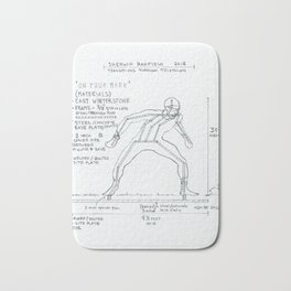 On Your Mark Drawing, Transitions through Triathlon Bath Mat