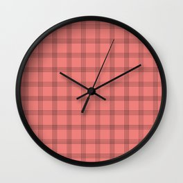 Black Grid on Pale Red Wall Clock