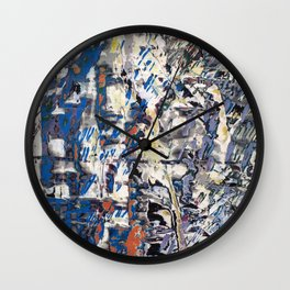 Inclement Weather (Gray and Blue Abstract Marks) Wall Clock
