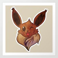 eevee Art Prints featuring EEVEELUTION! - EEVEE by Iris-sempi