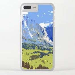 Majestic Blue Green Swiss Mountains Clear iPhone Case