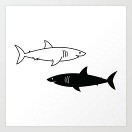 B/W Shark Art Print