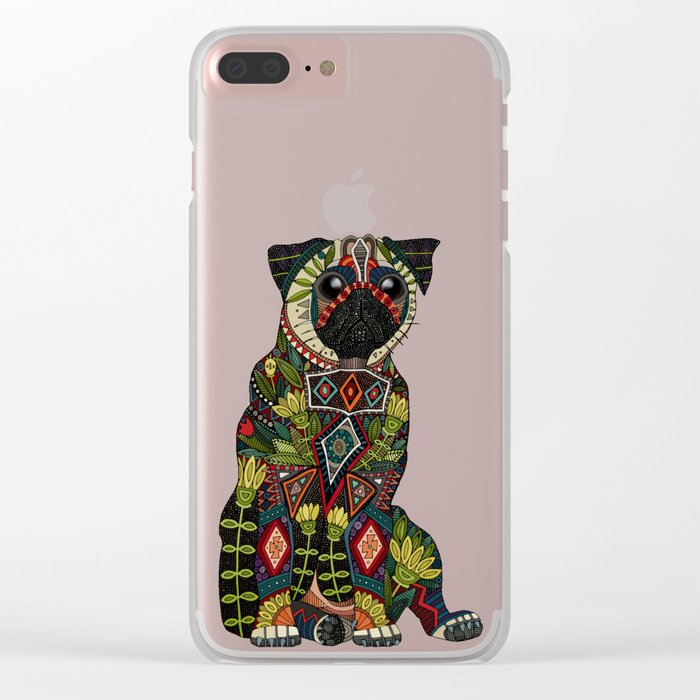 pug love teal Clear iPhone Case