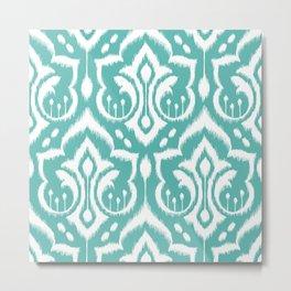 Ikat Damask Aqua Metal Print