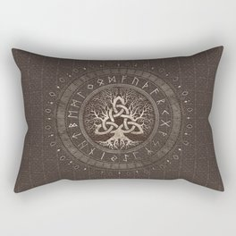 Tree of life with Triquetra Brown Leather and gold Rectangular Pillow
