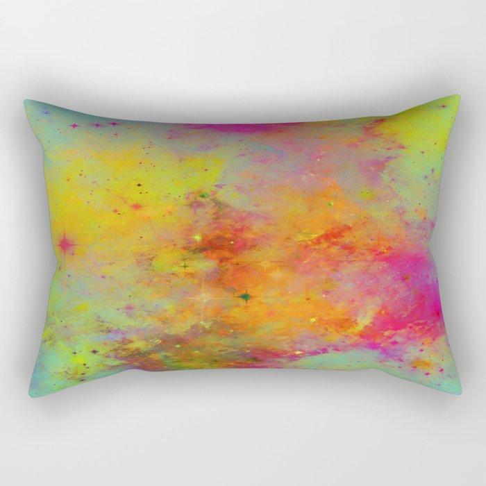 Rainbow Galaxy - Abstract, rainbow coloured space painting Rectangular Pillow