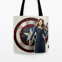 agent carter Tote Bags featuring Agent Carter by Tera Sidebottom