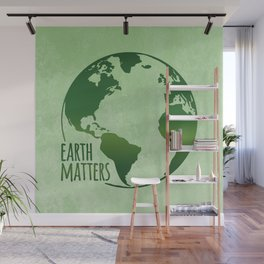 Earth Matters - Earth Day - Grunge Green 01 Wall Mural