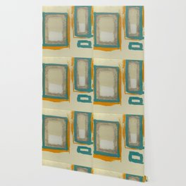 Soft And Bold Rothko Inspired - Modern Art - Teal Blue Orange Beige Wallpaper
