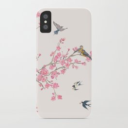 Birds and cherry blossoms iPhone Case