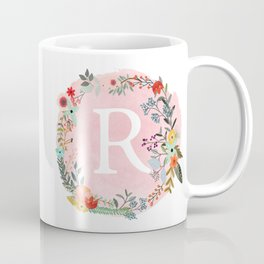 Flower Wreath with Personalized Monogram Initial Letter R on Pink Watercolor Paper Texture Artwork Coffee Mug