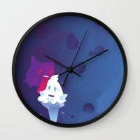 gengar Wall Clocks featuring Gengar eating ice cream by Alvaro Núñez