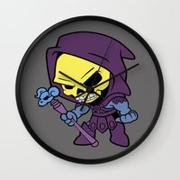 skeletor Wall Clocks featuring Lil Skeletor by Cynthia Vasquez