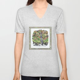SEASIDE VILLAGE WATERFALL REVISITED COLORED PEN DRAWING Unisex V-Neck