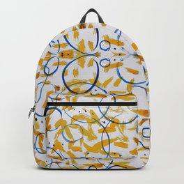abstract paint pattern blue circle Backpack