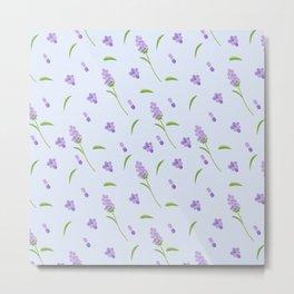 Lilac violet green abstract modern floral illustration Metal Print
