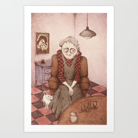 Old Woman and Cat Art Print