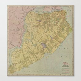 Vintage Map of Staten Island NY (1911) Canvas Print