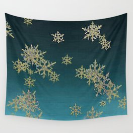 """MORE SNOW"" TEAL BLUE ART DESIGN Wall Tapestry"