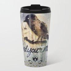 Zen Mantra Black Bird Graffiti Grunge Mandala Tile Design Metal Travel Mug