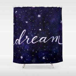 Watercolor galaxy dream - dark blue Shower Curtain