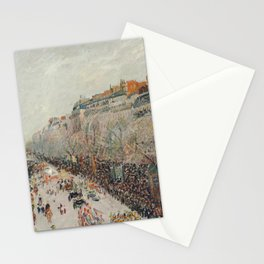Mardi Gras on Monmartre Boulevard in Paris by Camille Pissarro Stationery Cards