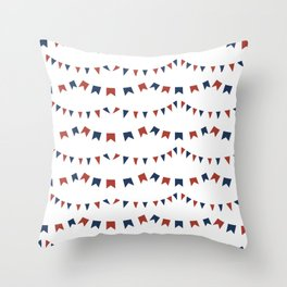 Summer Fun Flag Illustration in Red, White, and Blue Throw Pillow
