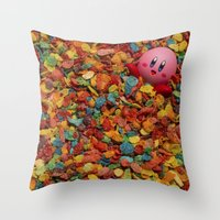 kirby Throw Pillows featuring Kirby Pebbles by Cody Ramsey