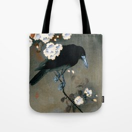 Vintage Japanese Crow and Blossom Woodblock Print Tote Bag