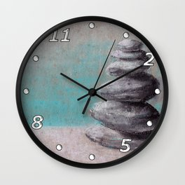 Stack of balanced stones on the beach drawing by pastel Wall Clock