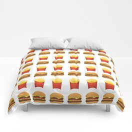Burgers and Fries Pattern Comforters