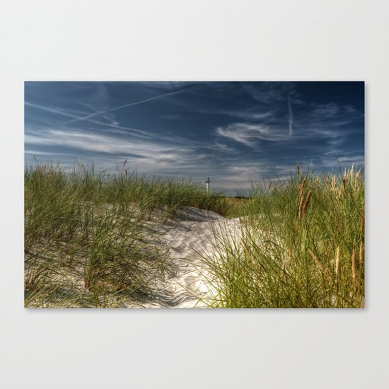 Light Tower and Dunes- Summer Beach Landscape #Society6 Canvas Print