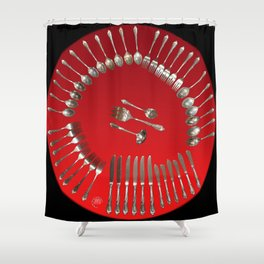 Silverware Clock in Red Shower Curtain