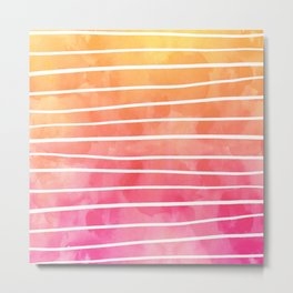 Modern pink yellow sunset watercolor ombre stripes pattern Metal Print