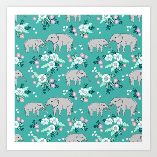 Elephants cute pattern florals good luck flowers and baby animals Art Print