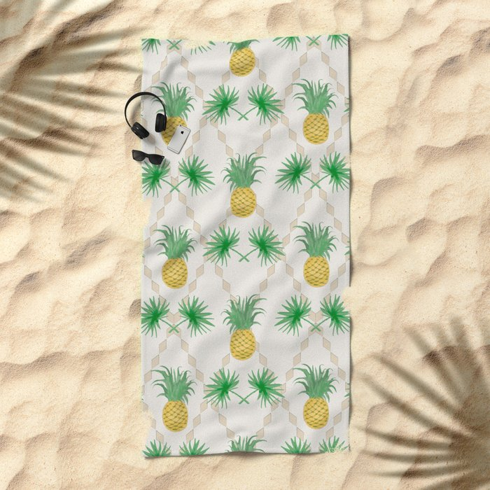 Exotic tropical  pattern with palm branches and pineapples . Beach Towel
