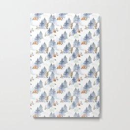 Bear & Mouse - Cute 4 Kids - Little Wild Animals in Winter Wonder Land Metal Print
