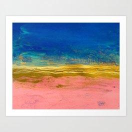 Blue Pink Gold Abstract Art Print