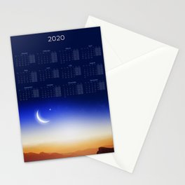 Calendar 2020 with Moon #1 Stationery Cards