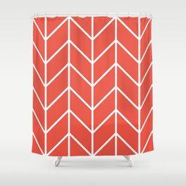 Herringbone Chevron (Tangerine) Shower Curtain