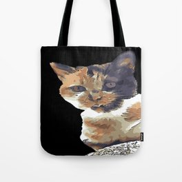 Cute Tricolor Cat With Tongue Out Tote Bag