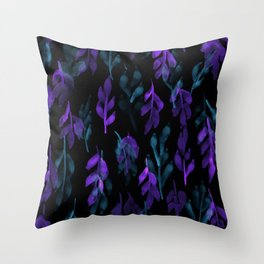 180726 Abstract Leaves Botanical Dark Mode 26|Botanical Illustrations Throw Pillow