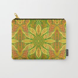 Sun Flower, bohemian floral, yellow, green & orange Carry-All Pouch