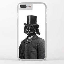 Lord Vadersworth (grayscale) Clear iPhone Case