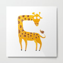 giraffe cartoon Metal Print