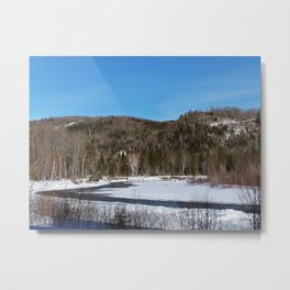Winding River in Winter Metal Print