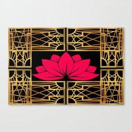 Art Deco Retro Lotus (amaranth-black) Canvas Print